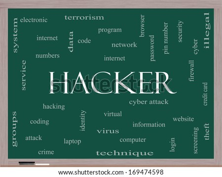 Hacker Word Cloud Concept on a Blackboard with great terms such as firewall, cyber, attack, crime and more. - stock photo