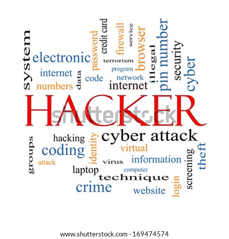 Hacker Word Cloud Concept with great terms such as firewall, cyber, attack, crime and more. - stock photo