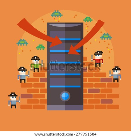 Hackers attaks activity. Computer hacking, internet security concept in flat design. Pirates attacking server in pixel style. Marketing promotional materials, presentation templates. Raster version  - stock photo