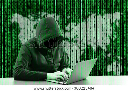 Hackers programmer look and search data for hack information and user account. 
