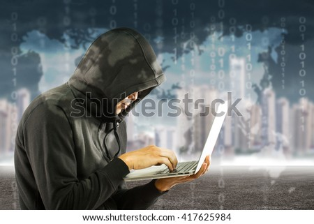 Hackers programmer look and search data for hack information and user account.  - stock photo