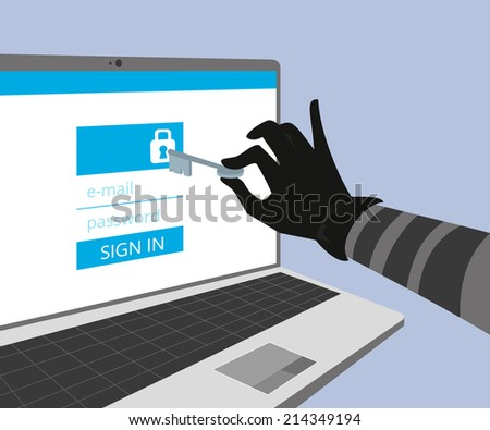 Hacking account of social networking. - stock photo