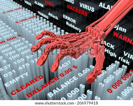 Hacking bank information. Conceptual 3d illustration - stock photo