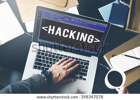 Hacking Hacker Data Information Cyberspace Concept - stock photo
