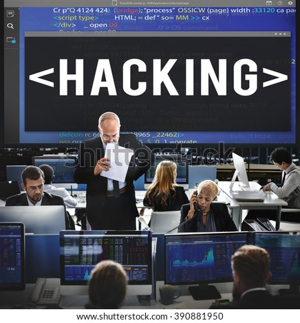 Hacking Software HTML Cyberspace Coding Concept - stock photo