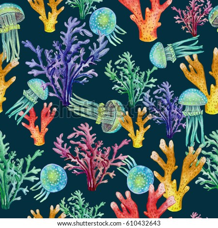Great Had Draw Pattern With Jellyfish And Coral Reef On The Sea Bottom, Marine  Background