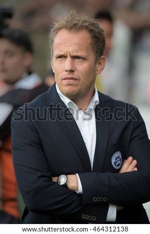 HADERSLEV, DENAMRK - AUGUST 4, 2016: Third Round Elimination to European League match SonderjyskE - KGHM Zaglebie Lubin 1:1. Coach of SonderjyskE Jacob Michelsen.