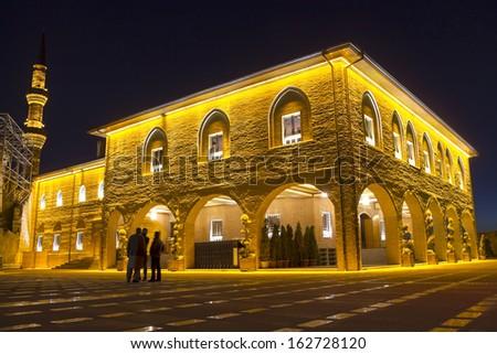 Hadji Bayram Mosque, one of the famous mosque at Ankara - night, Turkey - stock photo