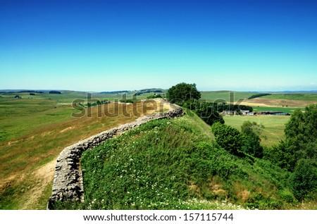 Hadrians Wall, Northumberland - stock photo
