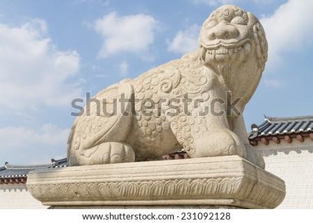 Haechi - Statue of a mythological lion-like animal at Gyeongbokgung Palace in Seoul, South Korea. - stock photo