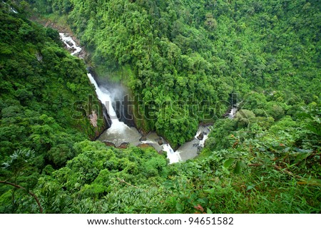 Haew Narok Waterfall is beautiful and very high  at Khao yai National, Thailand - stock photo