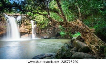 Haew Suwat Waterfall, Paradise in Tropical rain forest of Thailand