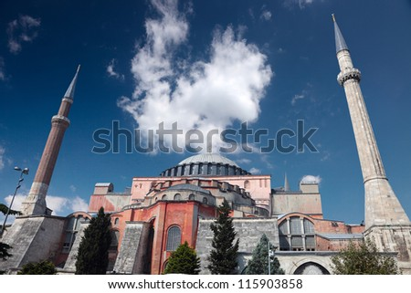Hag-ia Sofia (Santa Sofia), also called Ayasofya, built as a cathedral by Justinian I in the sixth century and turned into a mosque during the Ottoman Period - stock photo