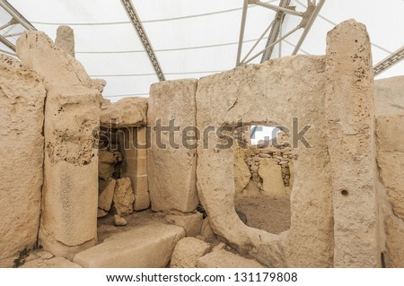 Hagar Qim megalithic temple complex, one of the most ancient religious sites on Earth in Malta - stock photo