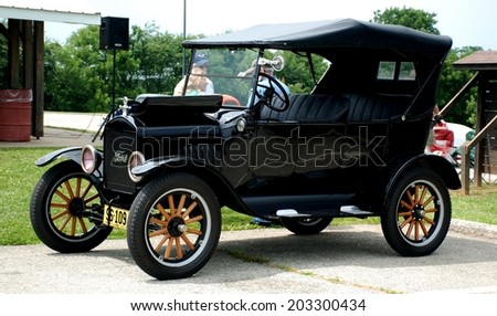 HAGERSTOWN, MD - JUNE 29, 2014: Image of a Ford Model T, proceeds from the car show benefit the newspapers in education program. - stock photo