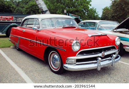 HAGERSTOWN, MD - JUNE 29, 2014: Image of a Hudson Hornet, proceeds from the car show benefit the newspapers in education program.  - stock photo