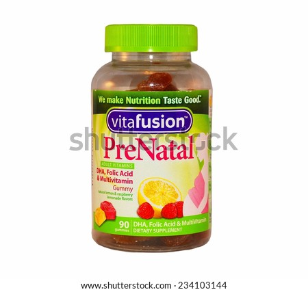 HAGERSTOWN, MD - OCTOBER 31, 2014:  Image of Vitafusion PreNatal vitamins, a source of folic acid and Omega-3.  - stock photo