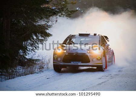 HAGFORS, SWEDEN - FEB 09: AL ATTIYAH Nasser in his Citroen DS3 WRC during the Shakedown stage in Rally Sweden 2012 in Hagfors , Sweden on Feb 9, 2012 - stock photo