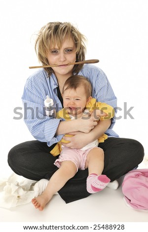 Haggard mother and Crying child - stock photo