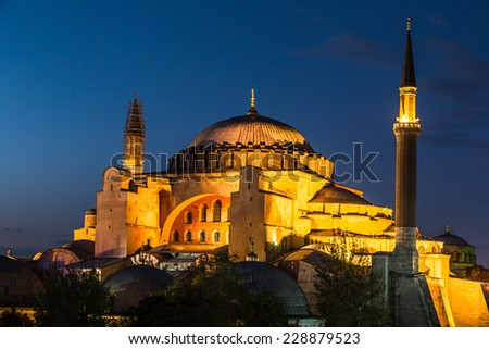 Hagia Sophia, a former Orthodox patriarchal basilica, later a mosque and now a museum in Istanbul, Turkey