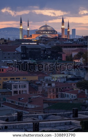 Hagia sophia and the city - stock photo
