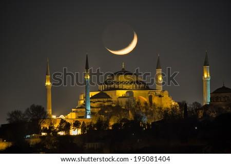 Hagia Sophia and the crescent moon - stock photo
