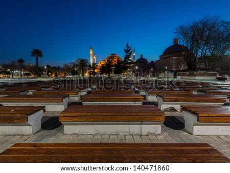 Hagia Sophia at dusk with wooden bench in foreground, istanbul, Turkey - stock photo