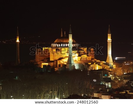 Hagia Sophia during night - far view from Galata Tower - stock photo