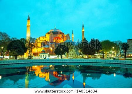 Hagia Sophia in Istanbul, Turkey early in the morning - stock photo