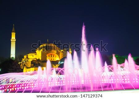 Hagia Sophia in Istanbul, Turkey in the night - stock photo