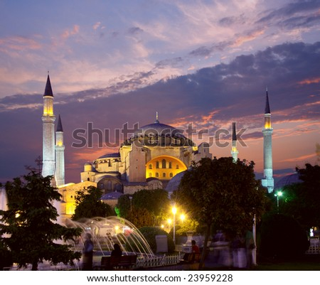 Hagia Sophia mosque in Istanbul at evening