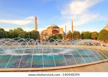 Hagia Sophia, the famous historical building of Istanbul. Now it's a museum as a world wonder. - stock photo