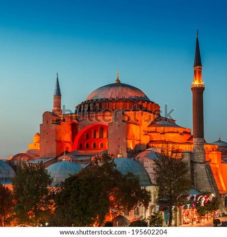 Hagia Sophia with lantern light on blue sky background at night, Istanbul, Turkey - stock photo