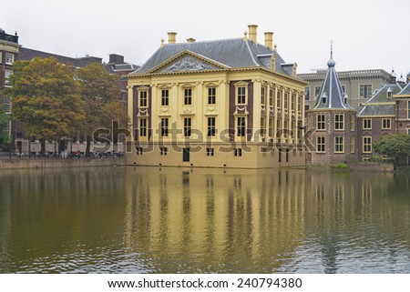 HAGUE - SEPTEMBER 19: Mauritshuis, an art museum that houses the Royal Cabinet of Paintings and Dutch Golden Age paintings, taken on September 19, 2014 in Hague, Netherlands - stock photo