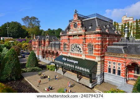 HAGUE - SEPTEMBER 19: Scaled replica of Groningen railway station at Madurodam minature park, taken on September 19, 2014 in Hague, Netherlands - stock photo