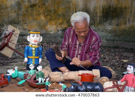 HAI DUONG, Vietnam, August 15, 2016 artisans, producing water puppets, performing arts traditional water puppetry, rural Ninh Giang, Hai Duong Province, Vietnam