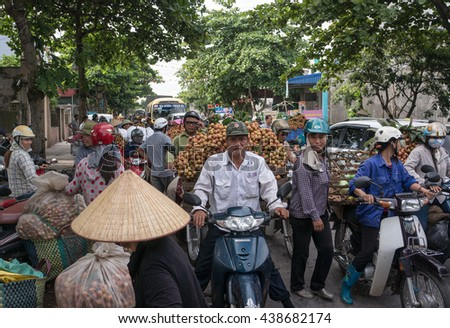 HAI DUONG, Vietnam, June 18, 2016 farmers, Thanh Ha, Hai Duong province, lychee harvest season. This is, specialty fruit, the countryside here