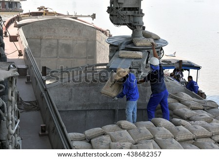 HAI DUONG, Vietnam, June 17, 2016 workers Hoang Thach cement plant. Town Minh Tan, Kinh Mon District, Hai Duong Province, Vietnam. The largest cement plant in Vietnam