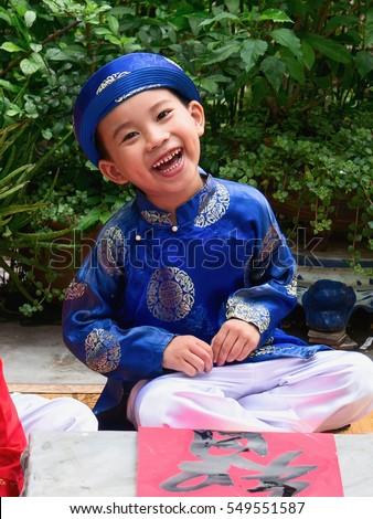 HAI DUONG, Vietnam, November 14, 2016 boys cute smile, kid, suburb of Hai Duong, Vietnam