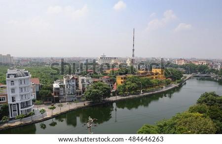 HAI DUONG, Vietnam, September 17, 2016 downtown Hai Duong, Vietnam, next to the river
