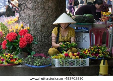 HAI DUONG, Vietnam, September 15, 2016 girls, rural Hai Duong, Vietnam. flower business