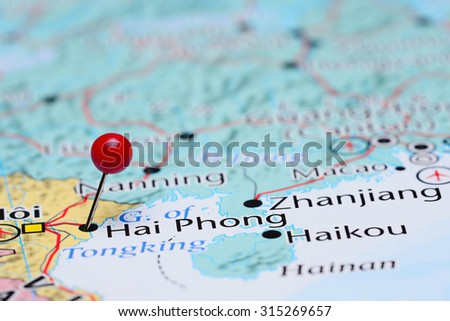 Hai Phong pinned on a map of Asia