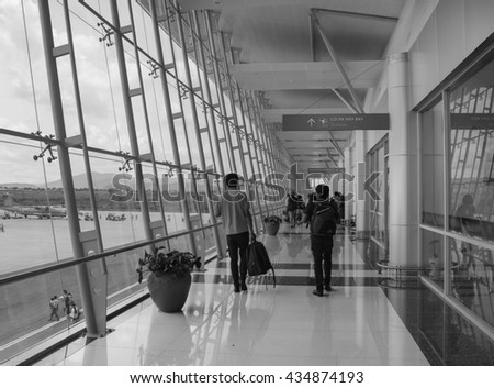Hai Phong, Vietnam - Apr 11, 2016: People walking at the Cat Bi airport in Hai Phong, Vietnam.