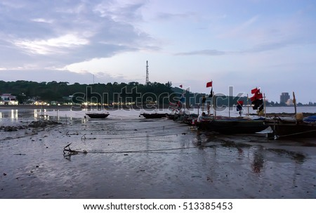 HAI PHONG, VIETNAM, August 28, 2015 fishing villages, beach Do Son, Hai Phong city, in the evening
