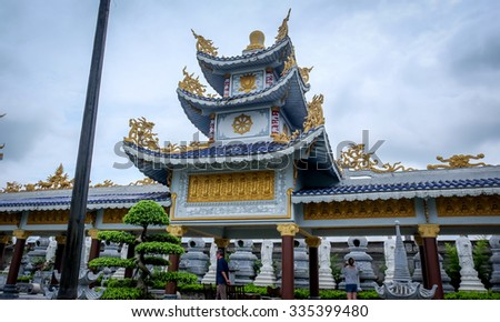 HAI PHONG, VIETNAM, JULY 30, 2015 : CAO LINH Pagoda, It was the place where the french burn 20 stalls during the Indochina war in 1947. Cao Linh pagoda attracts a lot of tourists - stock photo