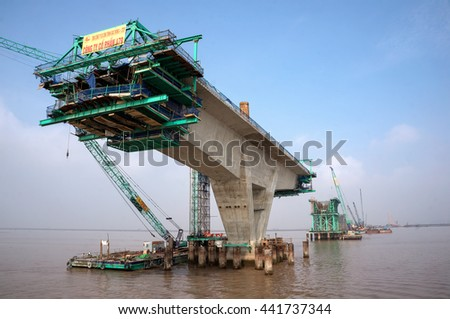 HAI PHONG, VIETNAM, June 10, 2016 cable-stayed bridge, which connects the city of Haiphong to Cat Ba island, Vietnam, being the Japanese architect, construction
