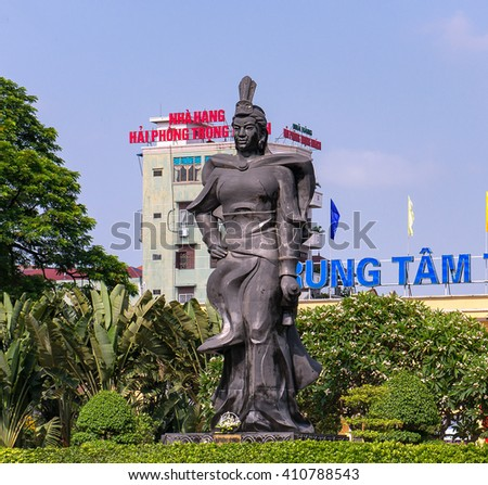 HAI PHONG, VIETNAM, September 12, 2015 the monument, Le Chan heroine, in the city of Hai Phong, Vietnam