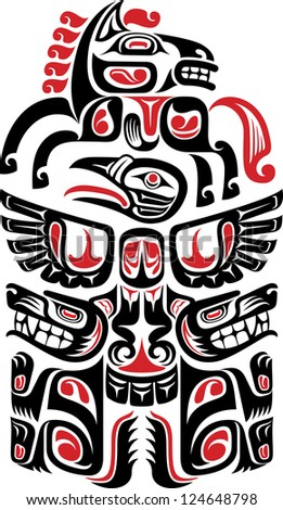 Haida style tattoo design created with animal images. Raster. Check my portfolio for a vector version. - stock photo