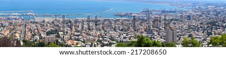 Haifa Israel city and harbor panoramic view from the Bahai gardens. Mediterranean, Israel  - stock photo