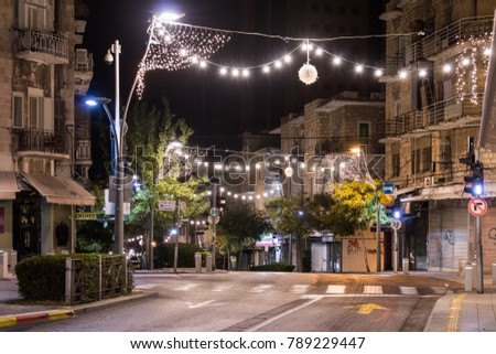 Haifa, Israel, December 08, 2017 : Decoratively decorated for Christmas celebrations Herzl street in Haifa in Israel